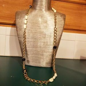 Estee Lauder Gold Chain Necklace Navy Cream Accent